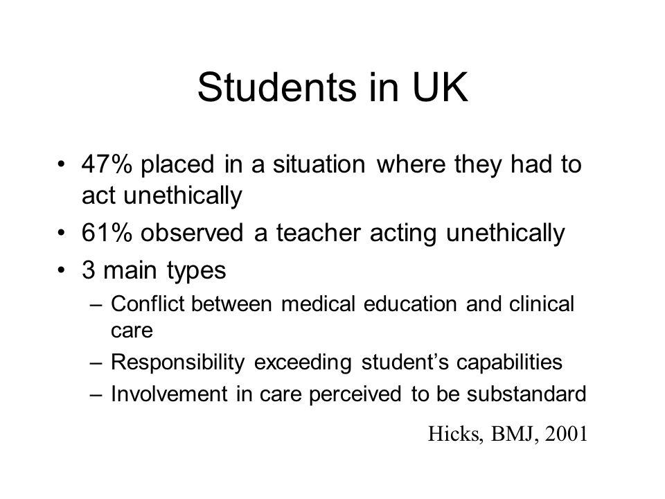 Students in UK 47% placed in a situation where they had to act unethically 61% observed a teacher acting unethically 3 main types –Conflict between medical education and clinical care –Responsibility exceeding student's capabilities –Involvement in care perceived to be substandard Hicks, BMJ, 2001
