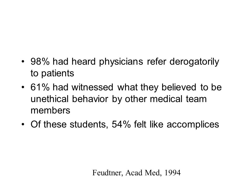 61% had witnessed what they believed to be unethical behavior by other medical team members Of these students, 54% felt like accomplices Feudtner, Acad Med, 1994