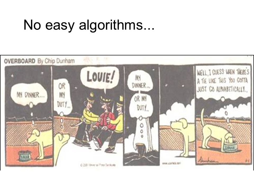 No easy algorithms...