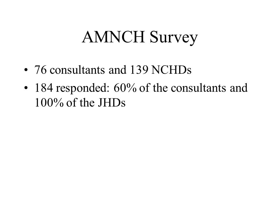 AMNCH Survey 76 consultants and 139 NCHDs 184 responded: 60% of the consultants and 100% of the JHDs