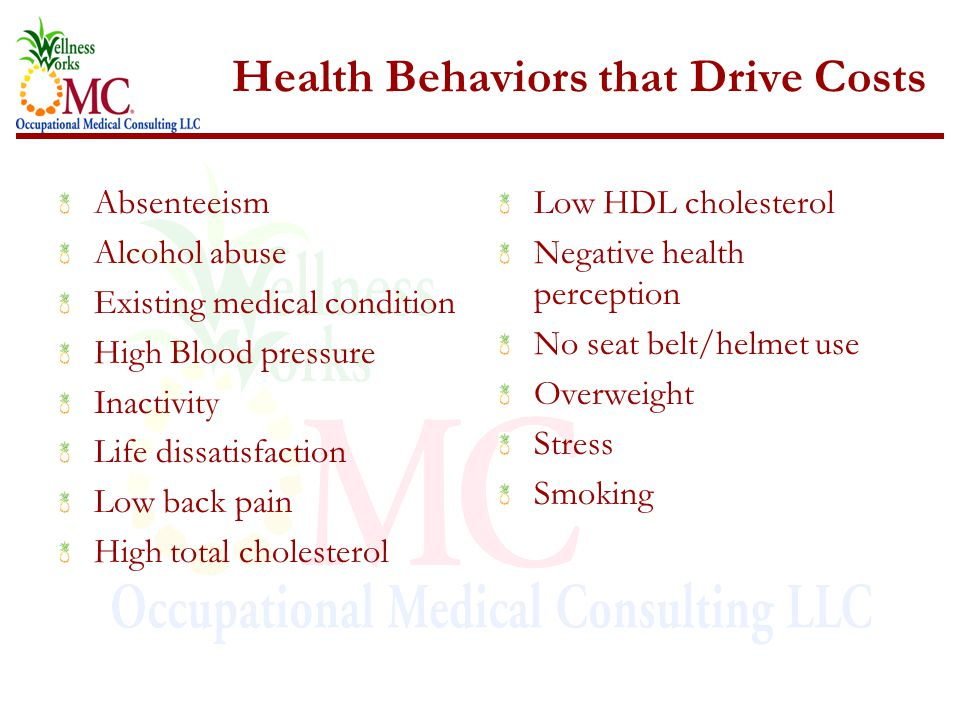 Health Behaviors that Drive Costs Absenteeism Alcohol abuse Existing medical condition High Blood pressure Inactivity Life dissatisfaction Low back pain High total cholesterol Low HDL cholesterol Negative health perception No seat belt/helmet use Overweight Stress Smoking
