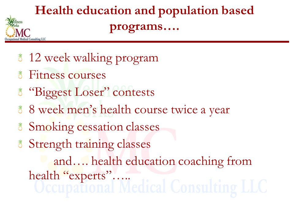 Health education and population based programs….