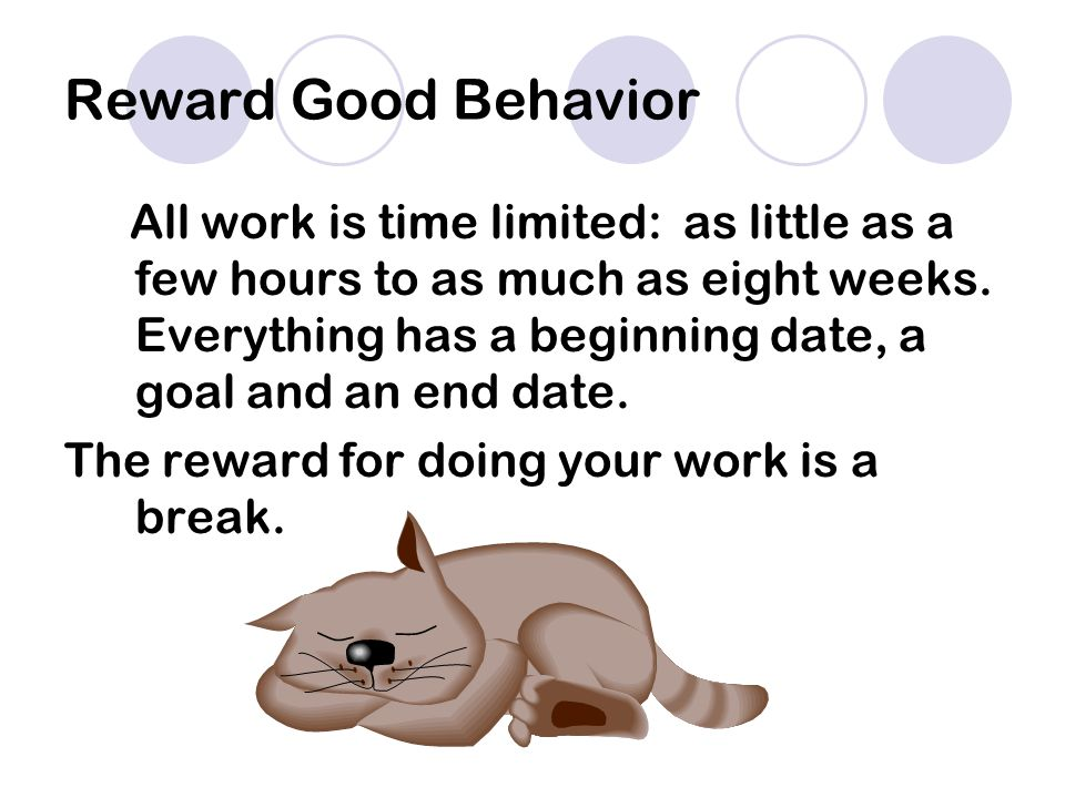 Reward Good Behavior All work is time limited: as little as a few hours to as much as eight weeks.