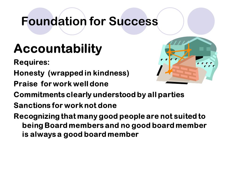 Accountability Requires: Honesty (wrapped in kindness) Praise for work well done Commitments clearly understood by all parties Sanctions for work not done Recognizing that many good people are not suited to being Board members and no good board member is always a good board member Foundation for Success
