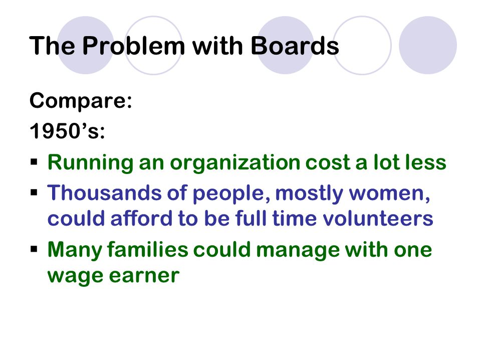 The Problem with Boards Compare: 1950's:  Running an organization cost a lot less  Thousands of people, mostly women, could afford to be full time volunteers  Many families could manage with one wage earner
