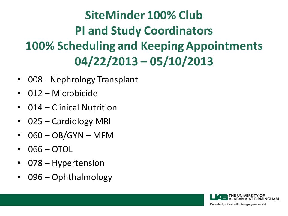 SiteMinder 100% Club PI and Study Coordinators 100% Scheduling and Keeping Appointments 04/22/2013 – 05/10/2013 008 - Nephrology Transplant 012 – Microbicide 014 – Clinical Nutrition 025 – Cardiology MRI 060 – OB/GYN – MFM 066 – OTOL 078 – Hypertension 096 – Ophthalmology