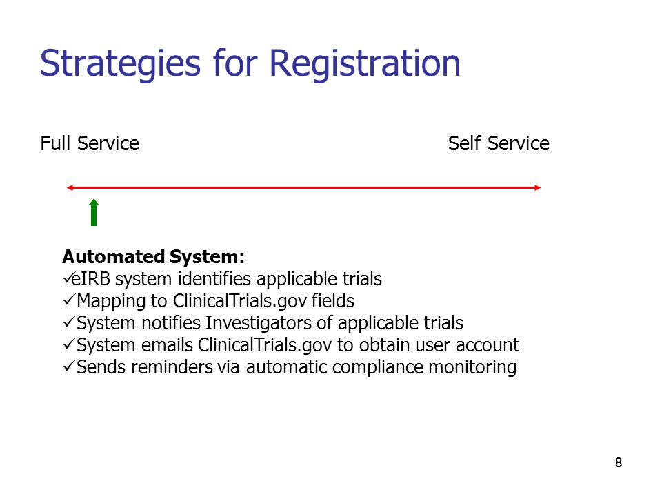 88 Strategies for Registration Full Service Automated System: eIRB system identifies applicable trials Mapping to ClinicalTrials.gov fields System notifies Investigators of applicable trials System emails ClinicalTrials.gov to obtain user account Sends reminders via automatic compliance monitoring Self Service