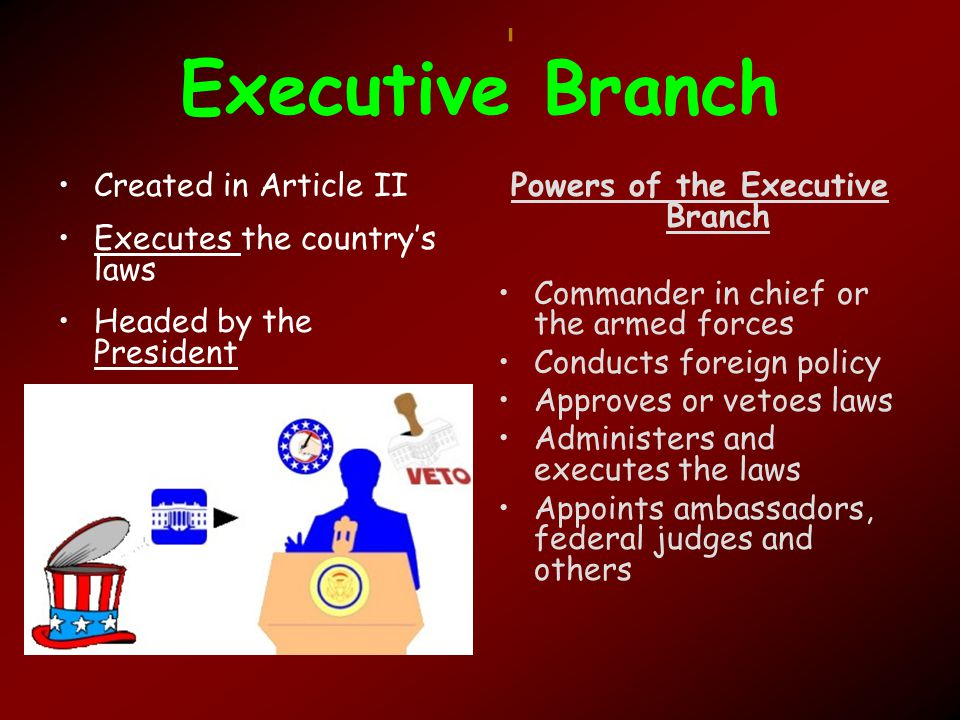 Executive Branch Created in Article II Executes the country's laws Headed by the President Powers of the Executive Branch Commander in chief or the armed forces Conducts foreign policy Approves or vetoes laws Administers and executes the laws Appoints ambassadors, federal judges and others