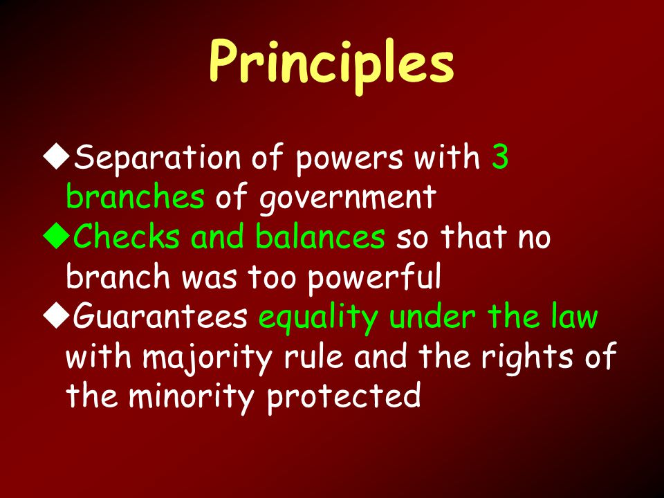 Principles  Separation of powers with 3 branches of government  Checks and balances so that no branch was too powerful  Guarantees equality under the law with majority rule and the rights of the minority protected