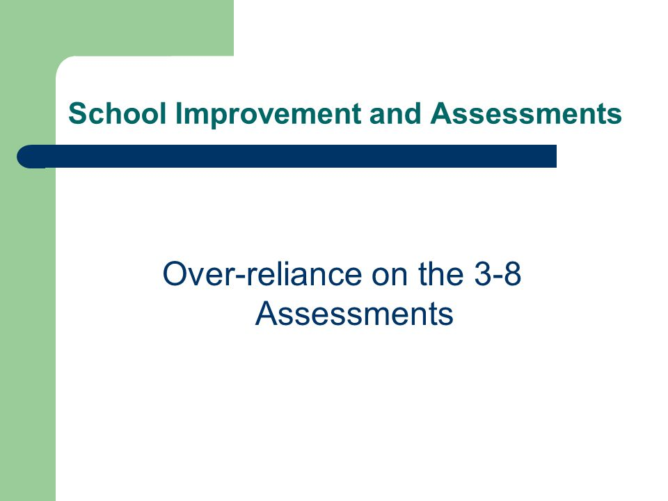 School Improvement and Assessments Over-reliance on the 3-8 Assessments