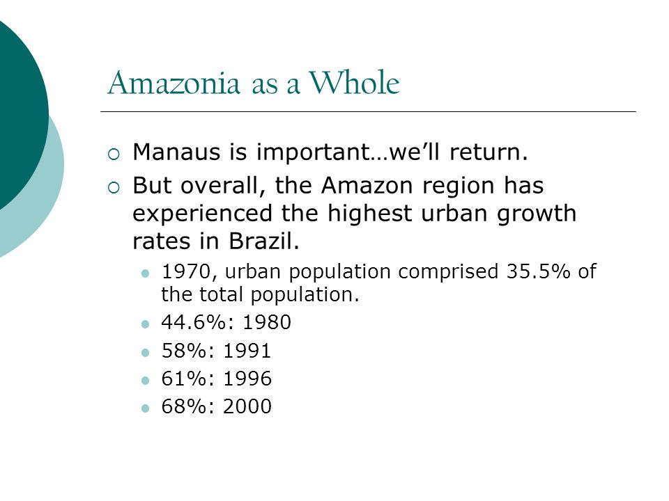 Amazonia as a Whole  Manaus is important…we'll return.
