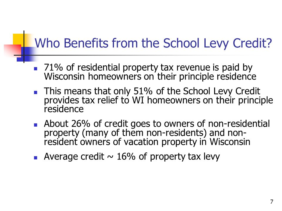7 Who Benefits from the School Levy Credit.