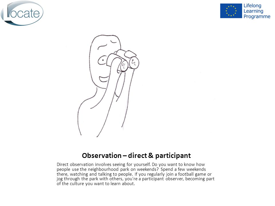Observation – direct & participant Direct observation involves seeing for yourself.