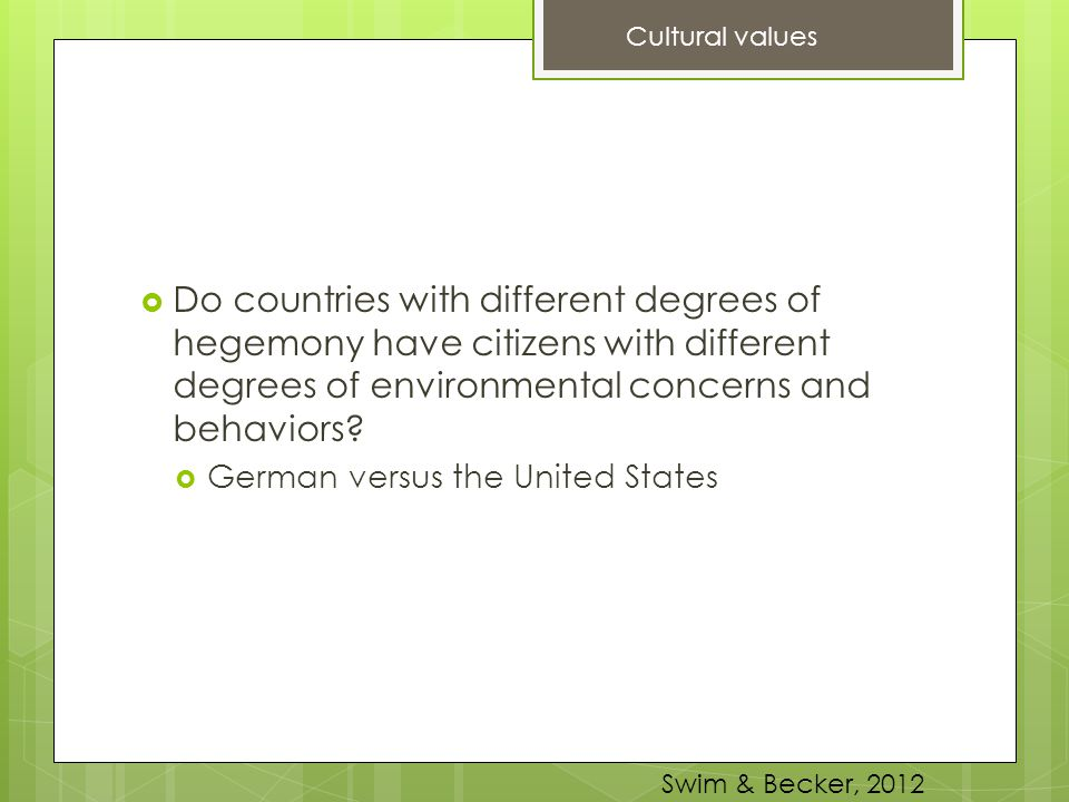  Do countries with different degrees of hegemony have citizens with different degrees of environmental concerns and behaviors?  German versus the Un