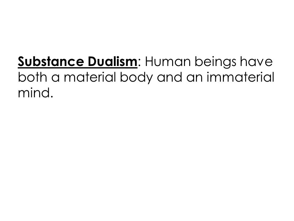 Substance Dualism : Human beings have both a material body and an immaterial mind.