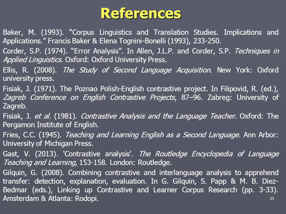 "References Baker, M. (1993). ""Corpus Linguistics and Translation Studies. Implications and Applications."" Francis Baker & Elena Tognini-Bonelli (1993)"