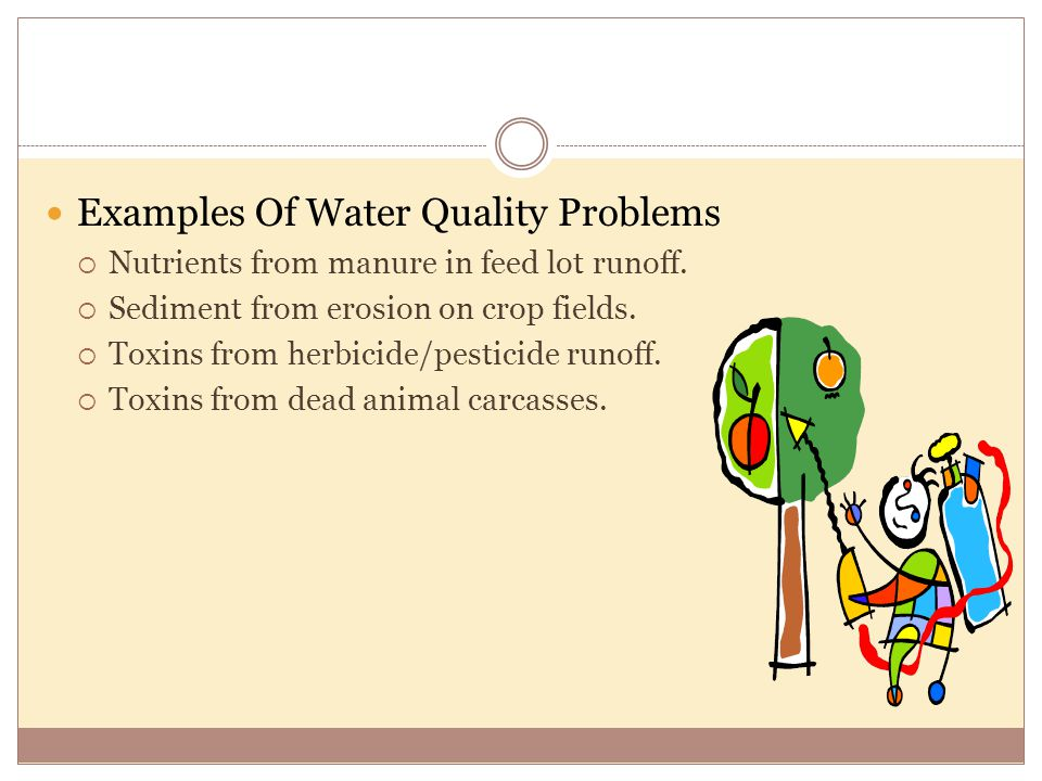 Examples Of Water Quality Problems  Nutrients from manure in feed lot runoff.