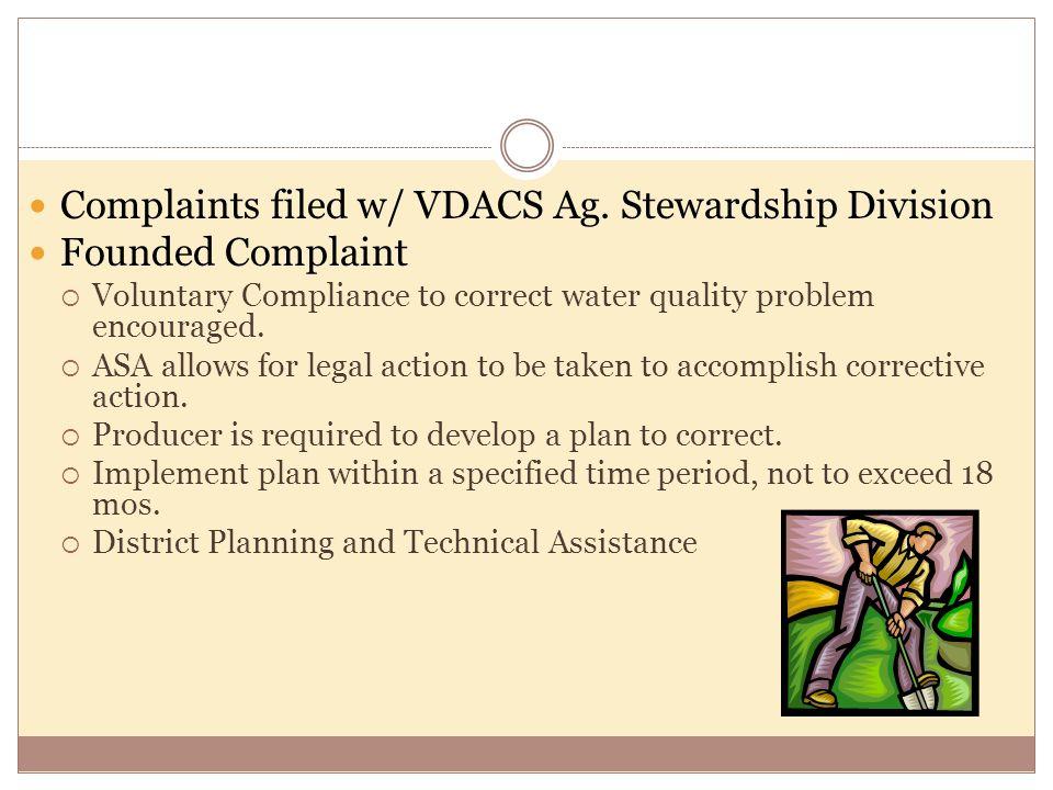 Complaints filed w/ VDACS Ag.