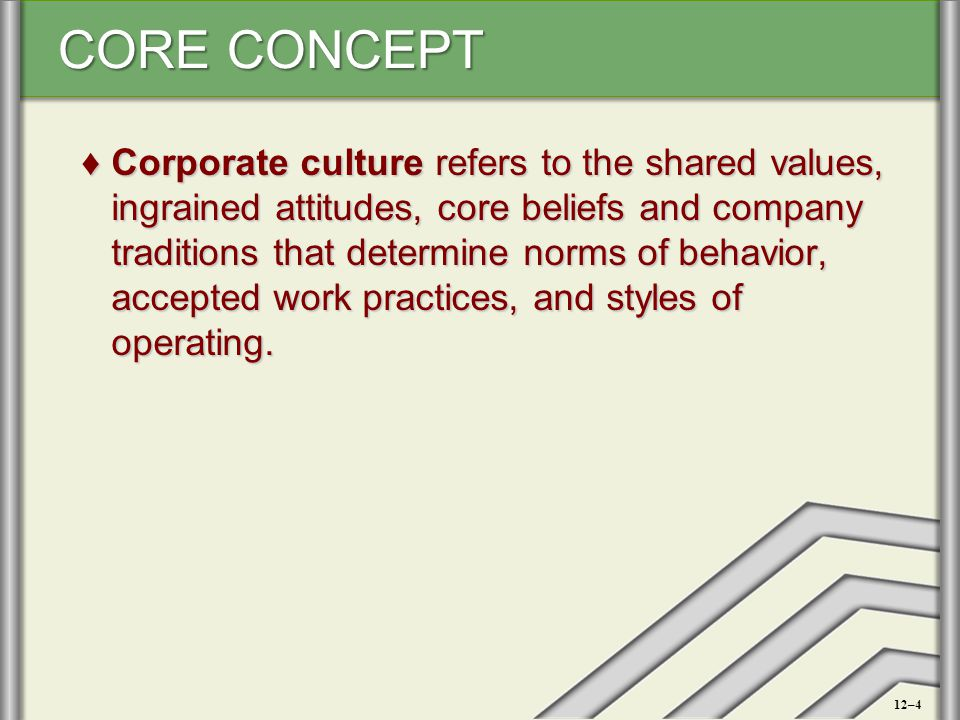 CORE CONCEPT ♦Corporate culture refers to the shared values, ingrained attitudes, core beliefs and company traditions that determine norms of behavior