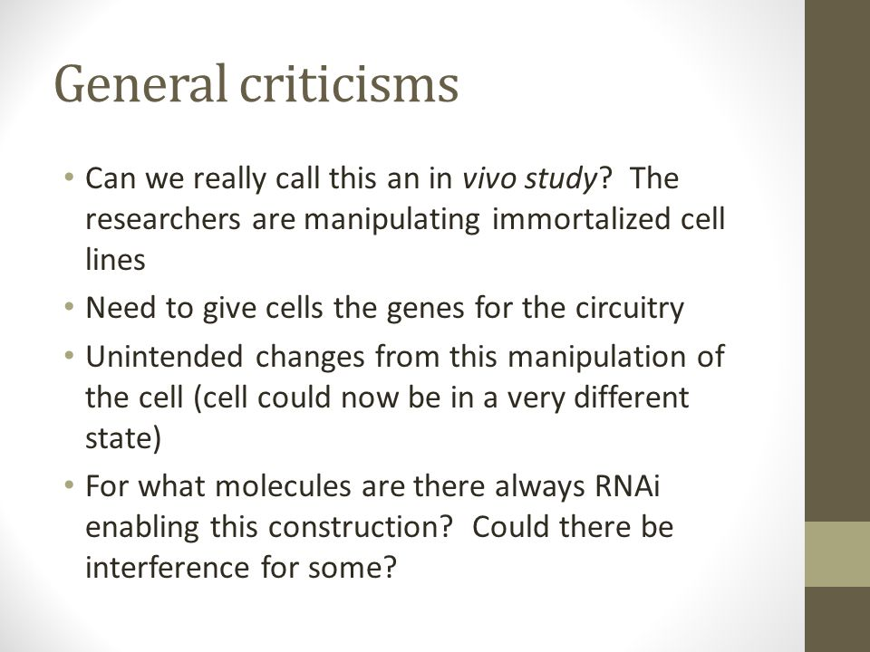 Theoretical questions Is there any positive constructs we can make (instead of A represses RNAi-A, which, if present, would repress translation) Amount of the different components to add seems fairly arbitrary, and perhaps can be manipulated to make the results nice Is there any way of being able to set the concentration levels a priori?