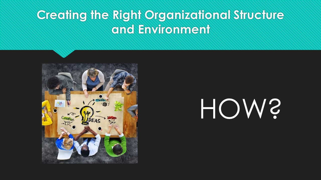 Creating the Right Organizational Structure and Environment HOW?