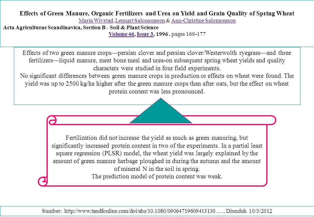 Effects of Green Manure, Organic Fertilizers and Urea on Yield and Grain Quality of Spring Wheat Maria WivstadMaria Wivstad, Lennart Salomonsson & Ann