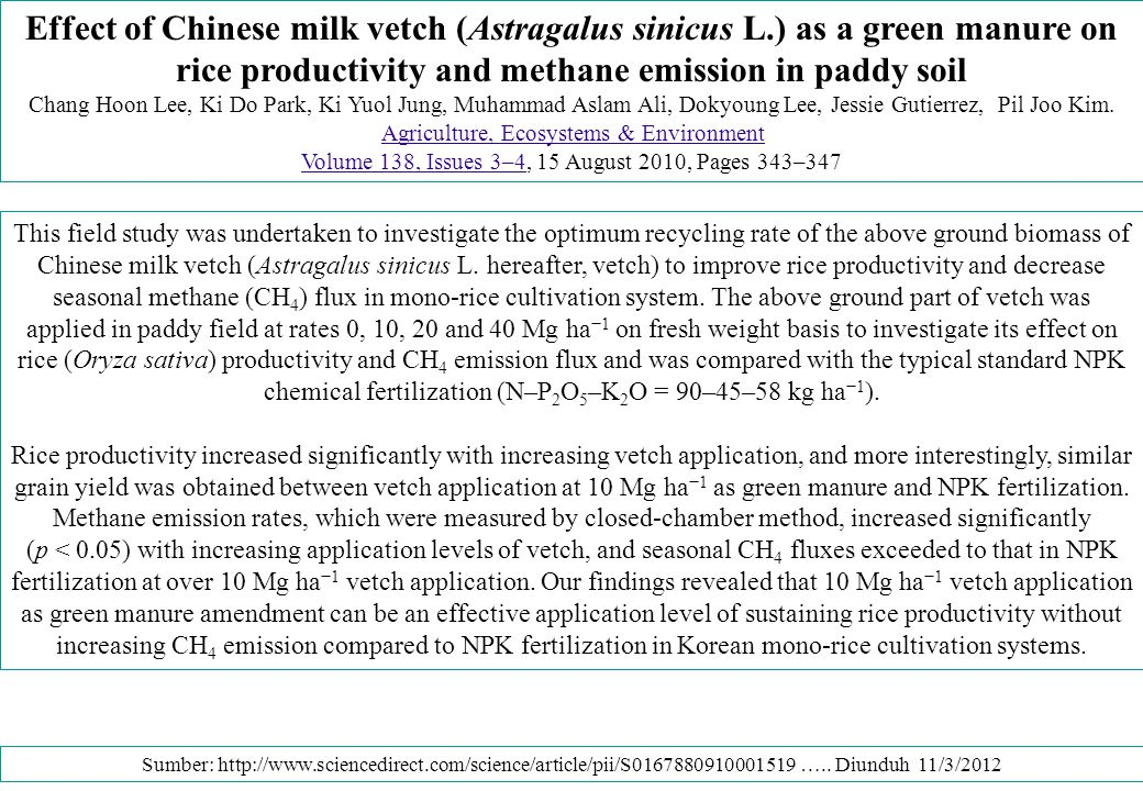 PUPUK HIJAU PADA PADI SAWAH Changes of rice grain yield and CH 4 flux in paddy soil amended with different rates of Chinese milk vetch as a green manure during rice cultivation.
