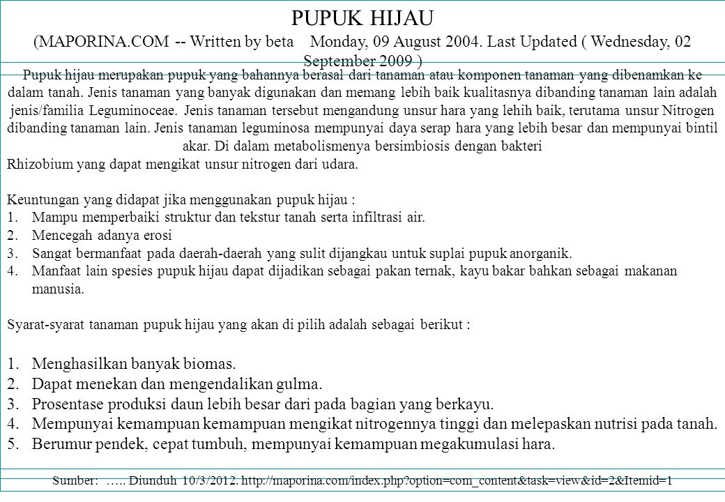 PUPUK HIJAU (MAPORINA.COM -- Written by beta Monday, 09 August 2004.