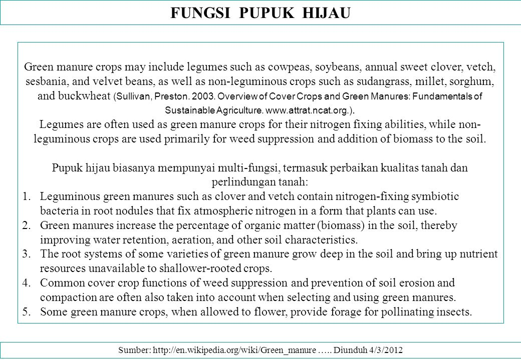MANFAAT PUPUK HIJAU Green manure crops are also useful for weed control, erosion prevention, and reduction of insect pests and diseases.