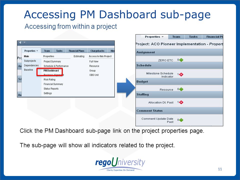 www.regoconsulting.comPhone: 1-888-813-0444 11 Accessing PM Dashboard sub-page Click the PM Dashboard sub-page link on the project properties page. Th