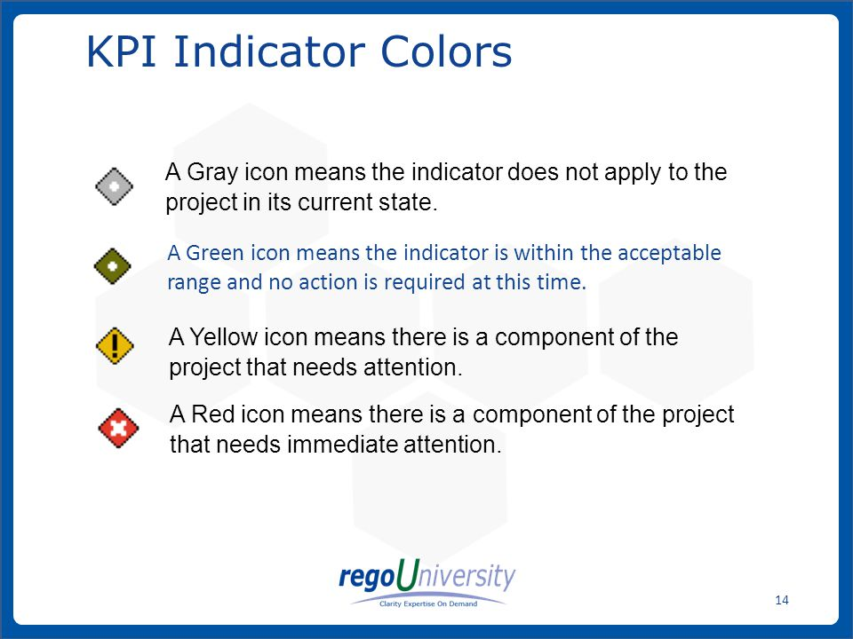 www.regoconsulting.comPhone: 1-888-813-0444 14 KPI Indicator Colors A Green icon means the indicator is within the acceptable range and no action is r