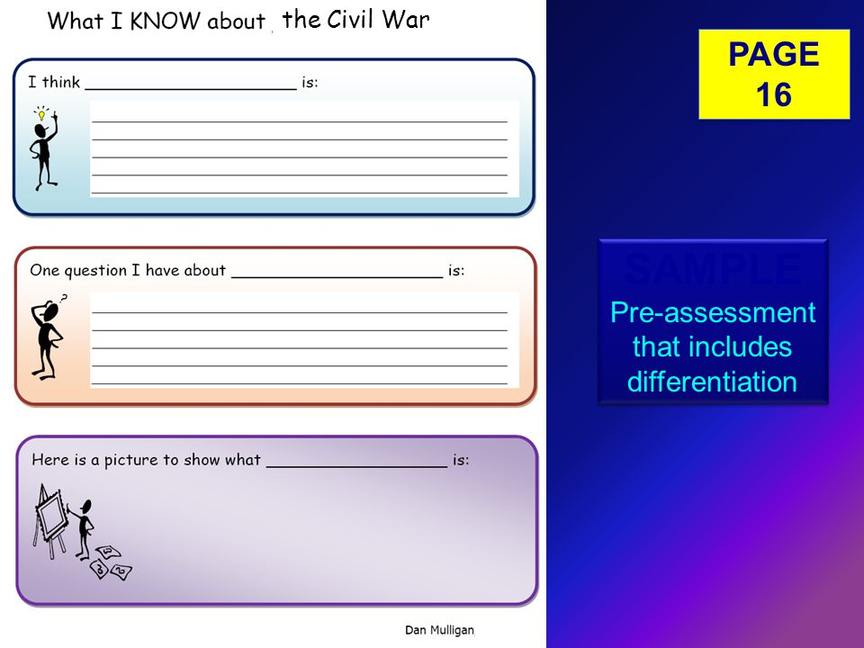 SAMPLE Pre-assessment that includes differentiation SAMPLE Pre-assessment that includes differentiation the Civil War PAGE 16