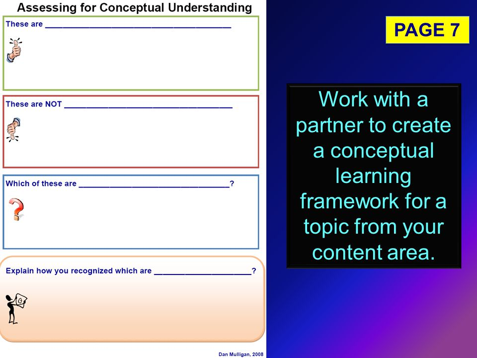 PAGE 7 Work with a partner to create a conceptual learning framework for a topic from your content area.