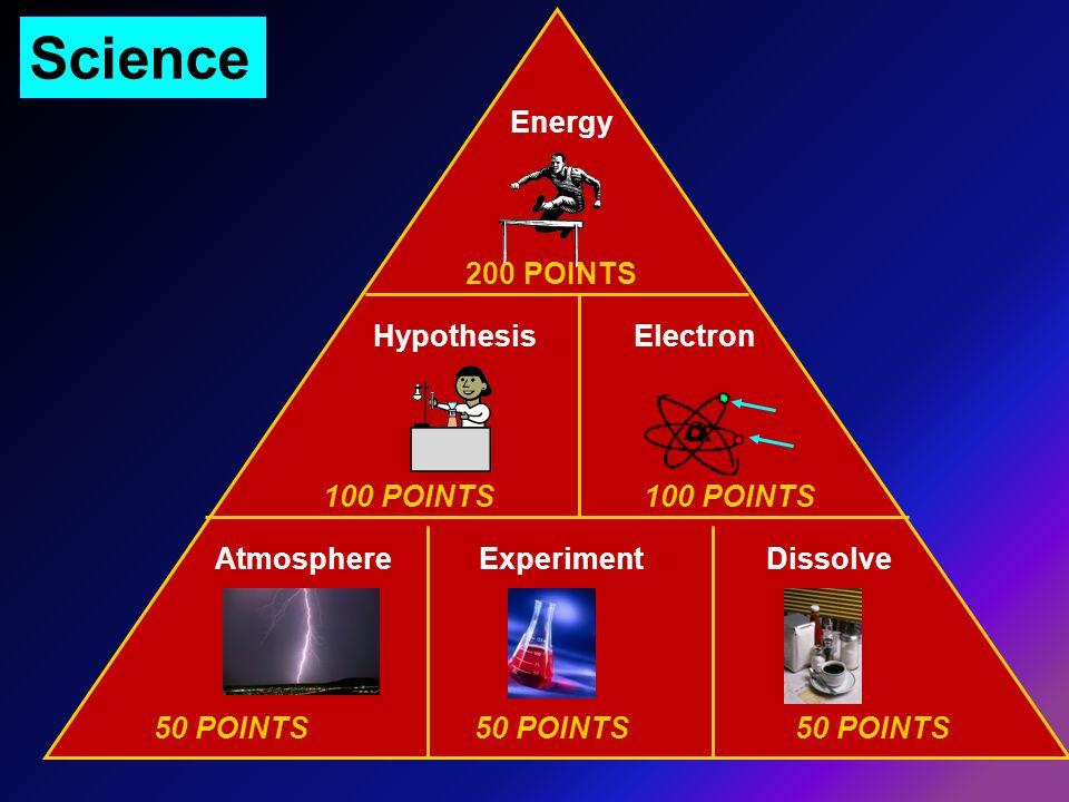 50 POINTS50 POINTS50 POINTS 100 POINTS 200 POINTS Science Experiment Hypothesis Energy Electron DissolveAtmosphere
