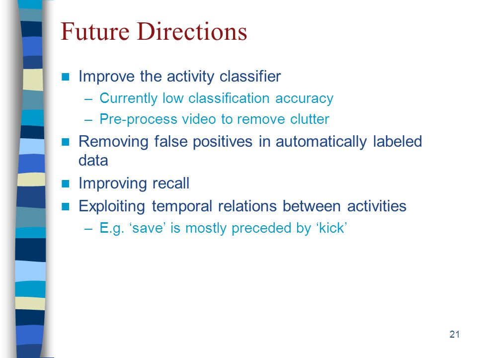 21 Future Directions Improve the activity classifier –Currently low classification accuracy –Pre-process video to remove clutter Removing false positives in automatically labeled data Improving recall Exploiting temporal relations between activities –E.g.