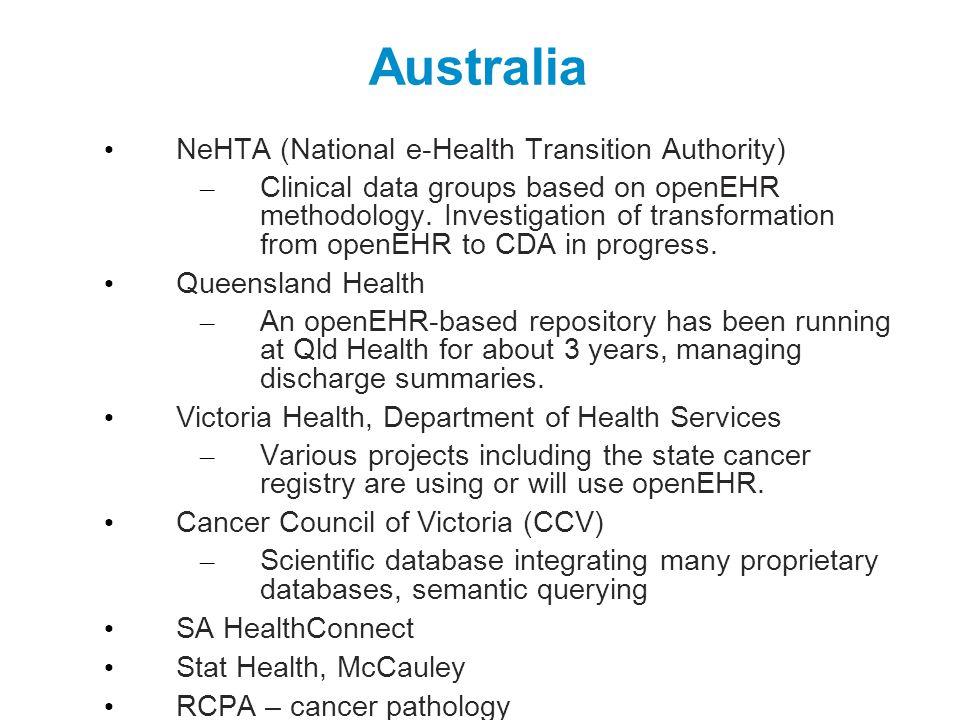 Australia NeHTA (National e-Health Transition Authority) – Clinical data groups based on openEHR methodology.