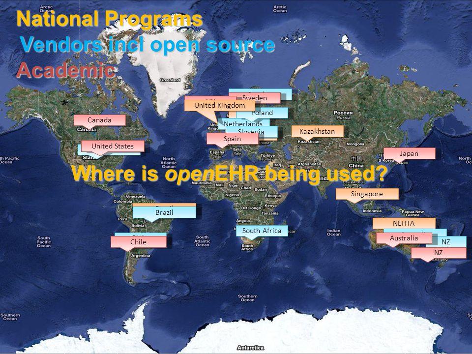 © Ocean Informatics 2009 United States Sweden Denmark Netherlands Kazakhstan Canada United States Brazil Singapore NEHTA Where is openEHR being used.