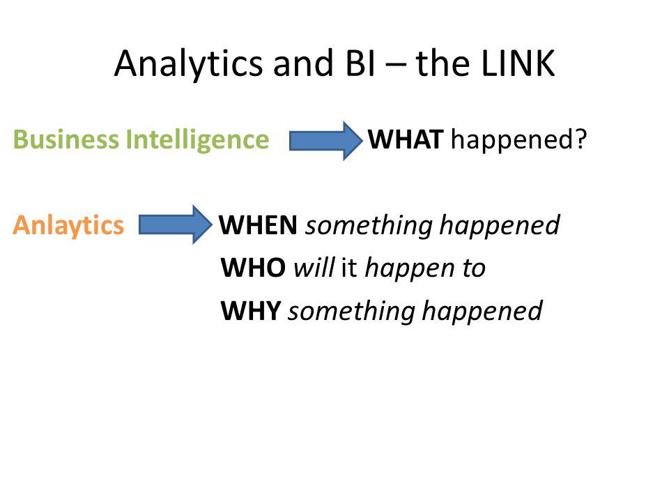 Analytics and BI – the LINK Data: petabytes Reports: terabytes Excel: gigabytes PowerPoint: megabytes Analytics: bytes One business decision based on priceless Analytics: priceless