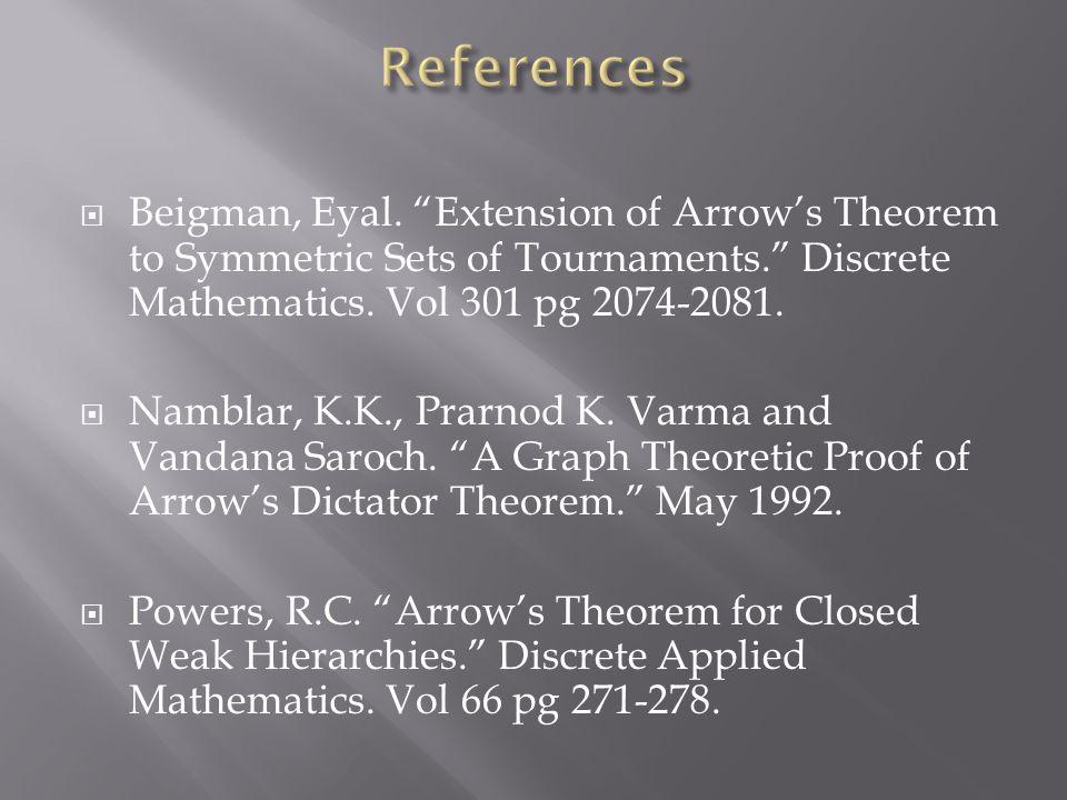 " Beigman, Eyal. ""Extension of Arrow's Theorem to Symmetric Sets of Tournaments."" Discrete Mathematics. Vol 301 pg 2074-2081.  Namblar, K.K., Prarnod"