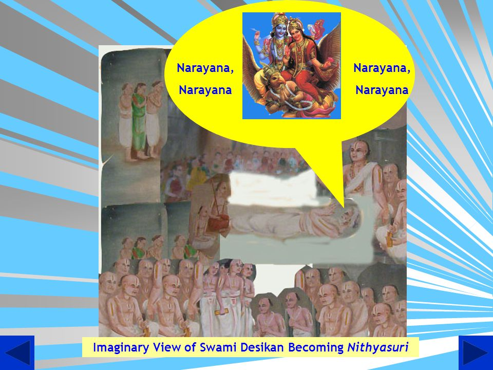 An imaginary picture of Swami taking permission from Lord Ranganatha, Goddess Ranganayaki, to come to his spiritual abode. Swami is seen with is son K