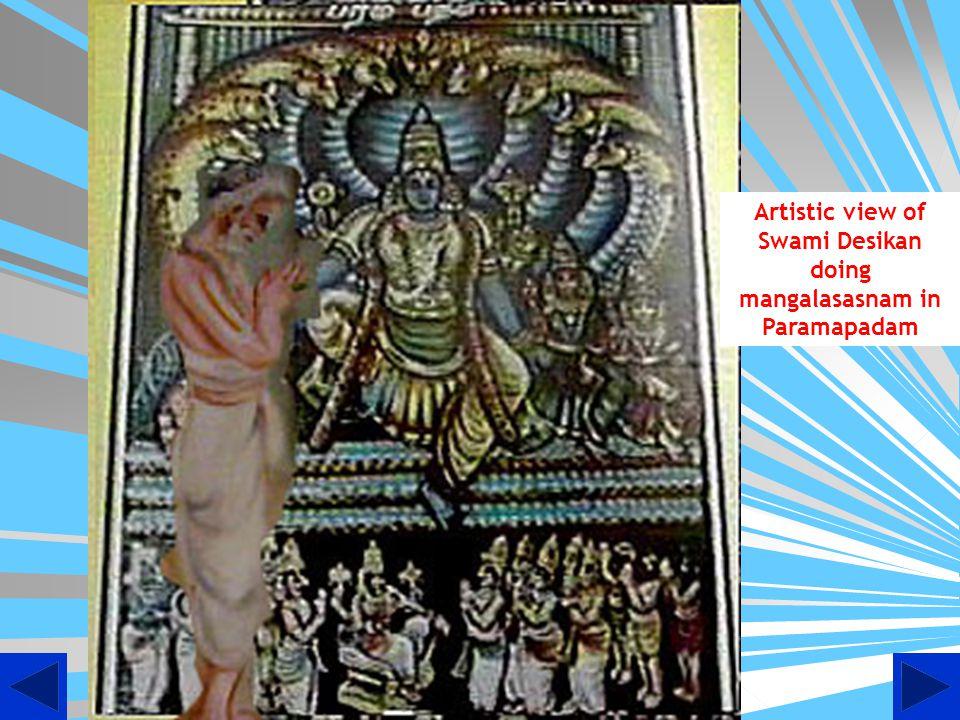 Artistic view of Sannidhi at Thooppul where in Swami Desikan is doing mangalasasnam to Lord Deepaprakashar with ubhanachiyars, Maraghathavalli Thayar