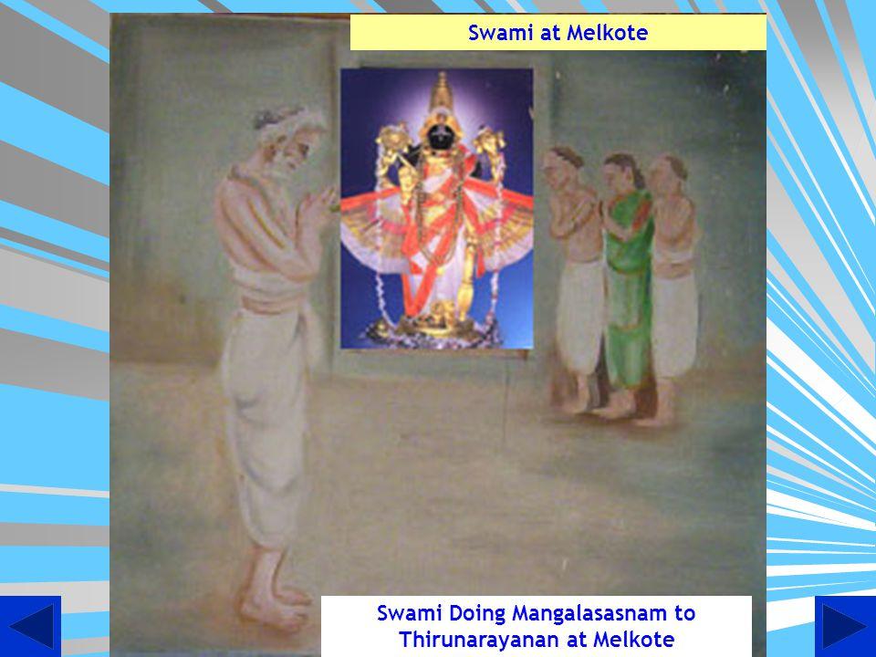 Swami Doing Mangalasasnam to Thirunarayanan at Melkote Swami at Melkote
