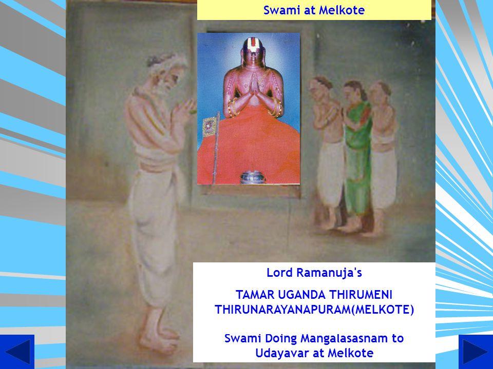 Artistic view of Sannidhi at Thooppul where in Swami Desikan is doing mangalasasnam to Lord Deepaprakashar with ubhanachiyars, Maraghathavalli Thayar and Andal.