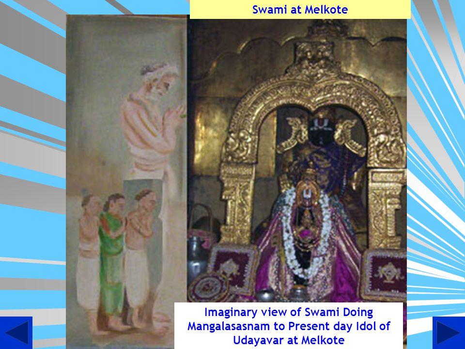 Artistic view of Swami Desikan doing mangalasasnam in Paramapadam