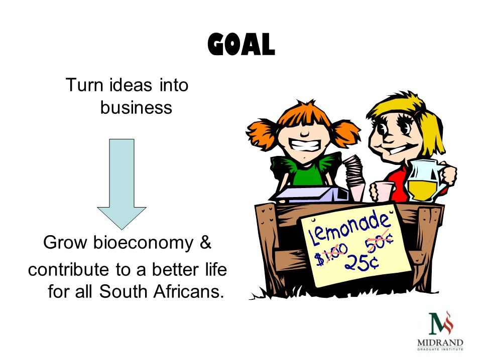 GOAL Turn ideas into business Grow bioeconomy & contribute to a better life for all South Africans.
