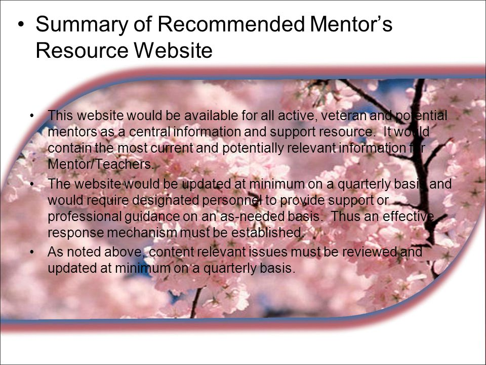 Summary of Recommended Mentor's Resource Website This website would be available for all active, veteran and potential mentors as a central informatio