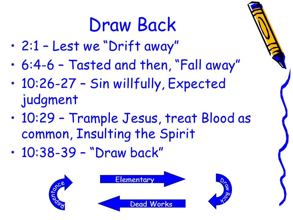 "Draw Back 2:1 – Lest we ""Drift away"" 6:4-6 – Tasted and then, ""Fall away"" 10:26-27 – Sin willfully, Expected judgment 10:29 – Trample Jesus, treat Blo"