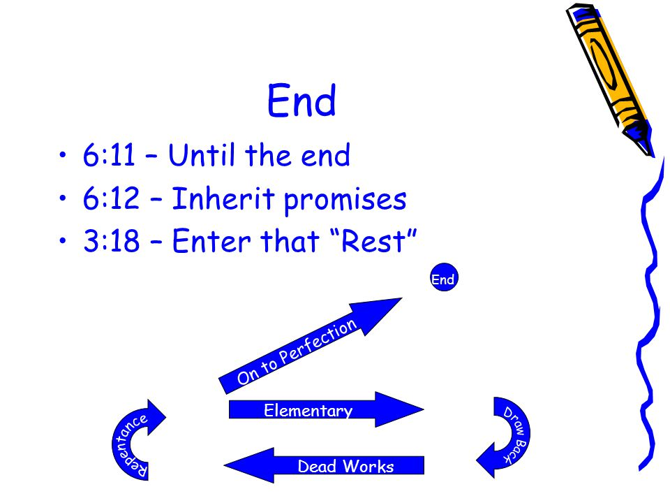 "End 6:11 – Until the end 6:12 – Inherit promises 3:18 – Enter that ""Rest"" Dead Works Elementary On to Perfection End"