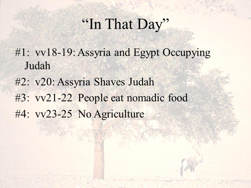"""In That Day"" #1: vv18-19: Assyria and Egypt Occupying Judah #2: v20: Assyria Shaves Judah #3: vv21-22 People eat nomadic food #4: vv23-25 No Agricult"