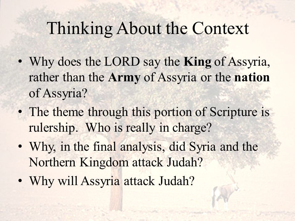 Thinking About the Context Why does the LORD say the King of Assyria, rather than the Army of Assyria or the nation of Assyria? The theme through this